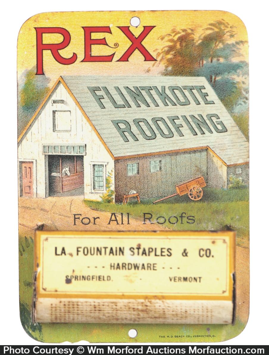 Antique Advertising Rex Roofing Match Holder Antique