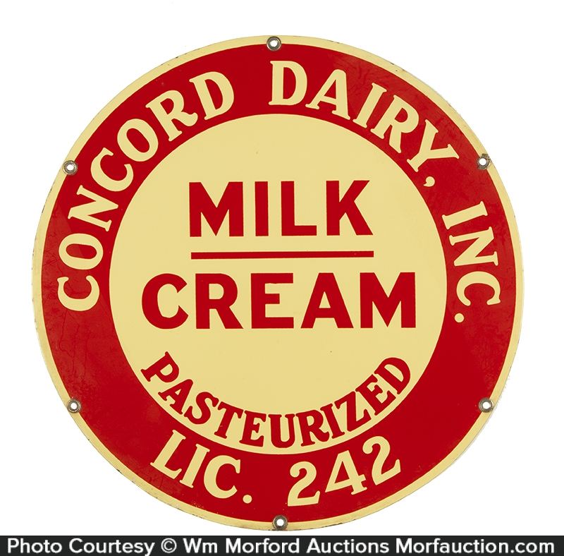 Concord Dairy Porcelain Sign