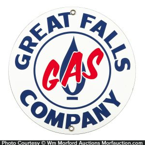 Great Falls Porcelain Gas Sign