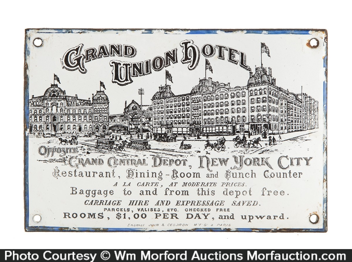 Grand Union Hotel Porcelain Sign