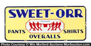 Sweet-Orr Overalls Porcelain Sign