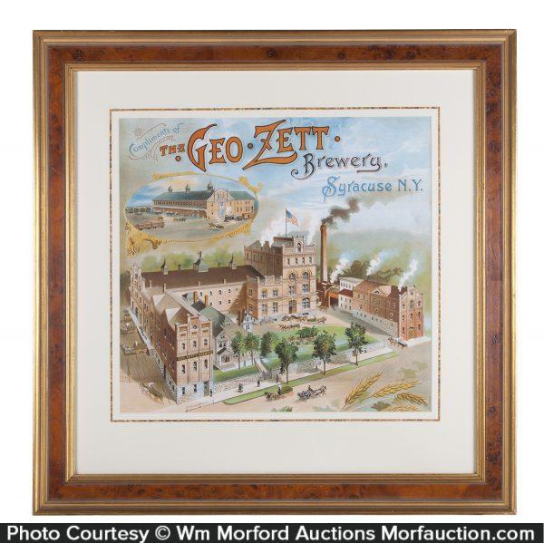 Geo. Zett Brewery Beer Sign