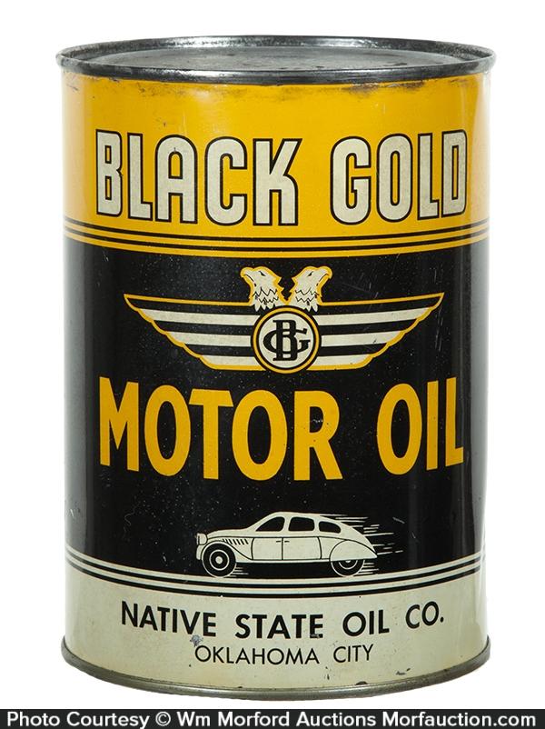 Antique Advertising Black Gold Motor Oil Can Antique