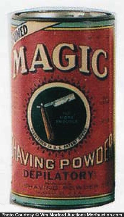 Antique Advertising Magic Shaving Powder Tin Antique Advertising