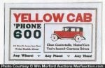 Yellow Cab Phone Sign