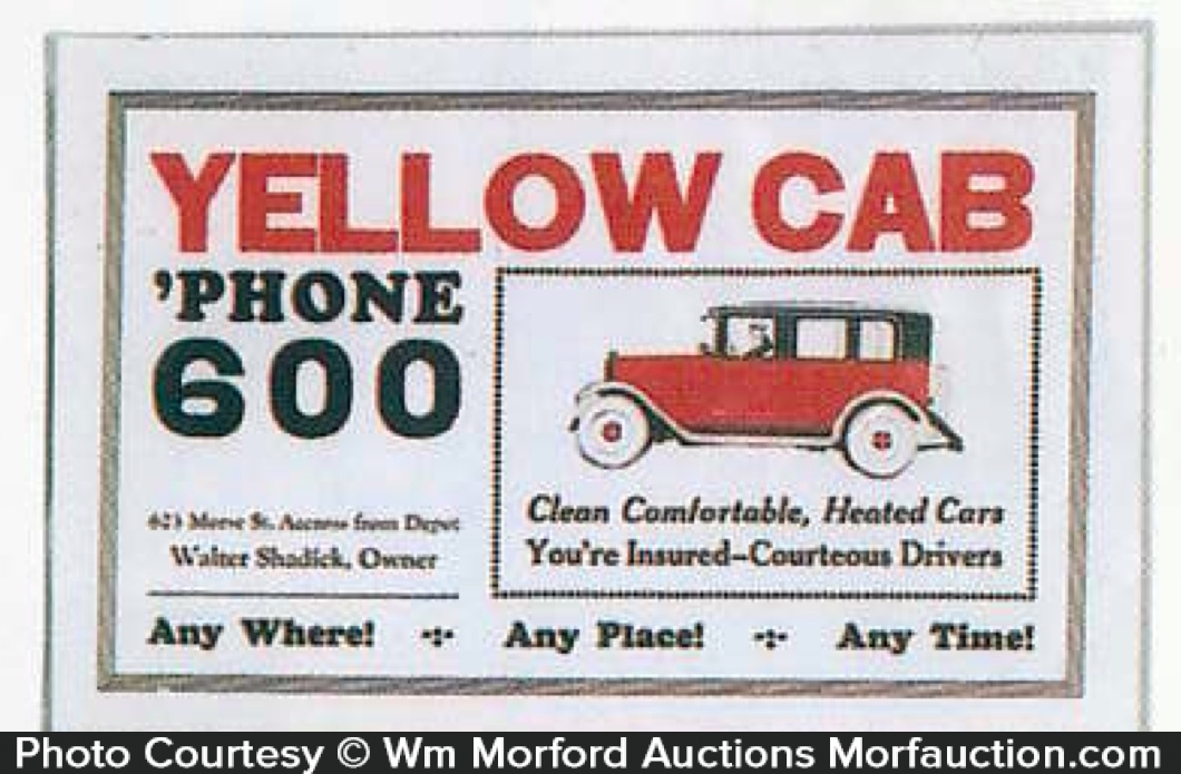antique advertising yellow cab phone sign antique. Black Bedroom Furniture Sets. Home Design Ideas