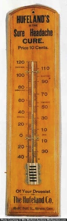 Huffland's Headache Cure Thermometer