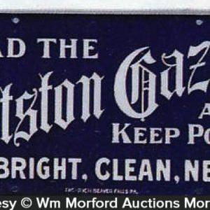 Pittston Gazette Porcelain Sign