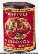 Parrot and Monkey Baking Powder Tin