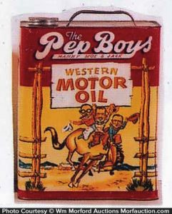 antique advertising pep boys western oil can antique