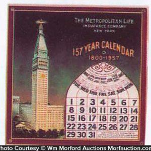 Metropolitan Insurance Celluloid Calendar