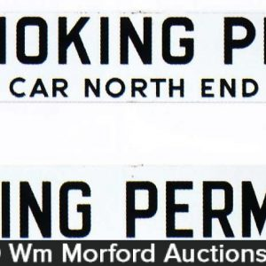 Porcelain Railroad Smoking Sign
