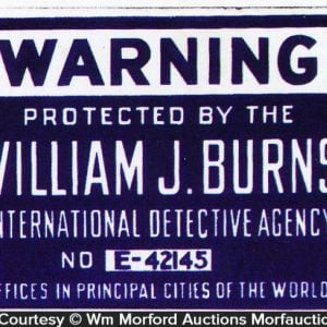 Burns Detective Agency Sign