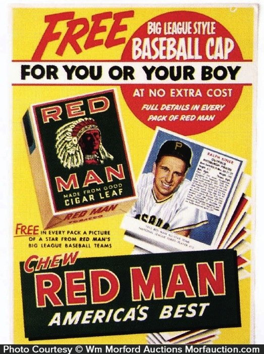 Red Man Tobacco Baseball Cards Sign