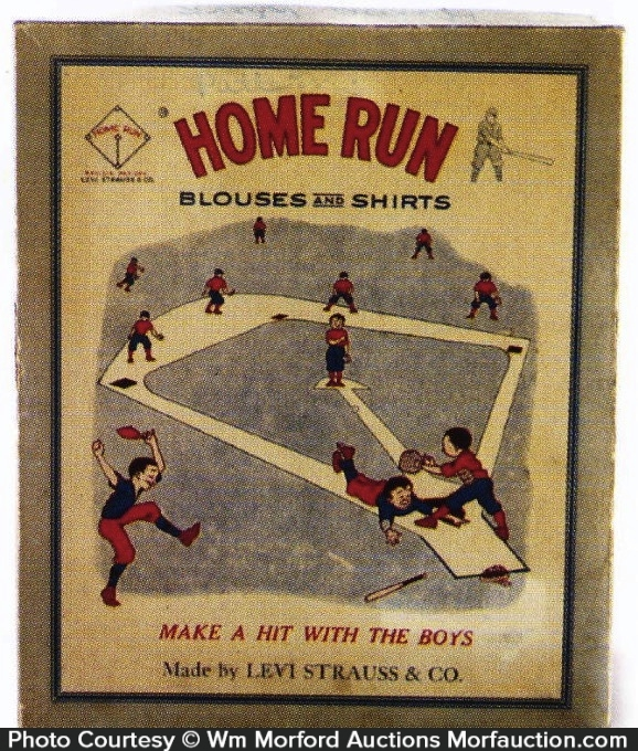 antique advertising levi strauss home run shirt box. Black Bedroom Furniture Sets. Home Design Ideas