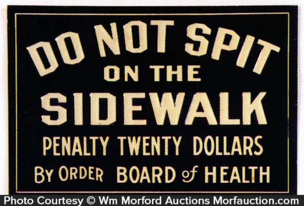 No Spitting On Sidewalk Sign