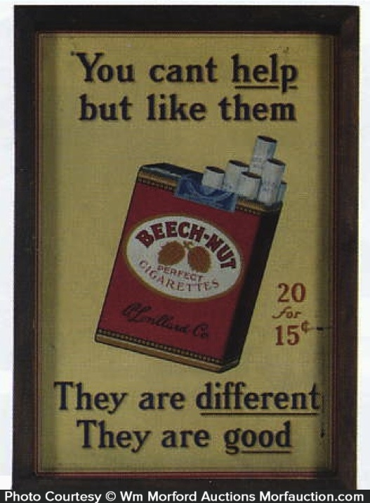 Beech-Nut Cigarettes Sign