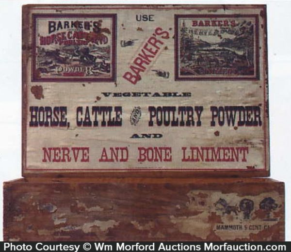 Barker's Nerve and Bone Liniment Display Box
