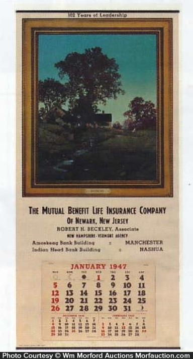 Mutual Life Insurance Evening Calendar