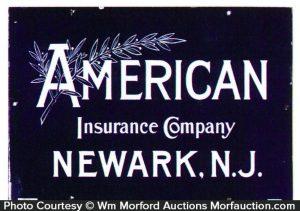 American Insurance Porcelain Sign