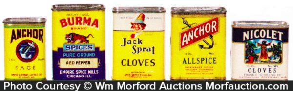 Vintage Paper Spice Tins