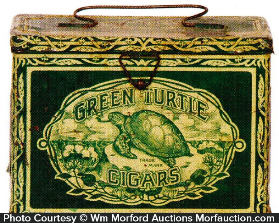 Green Turtle Cigar Tin Pail
