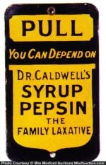 Dr. Caldwell Syrup Pepsin Door Push