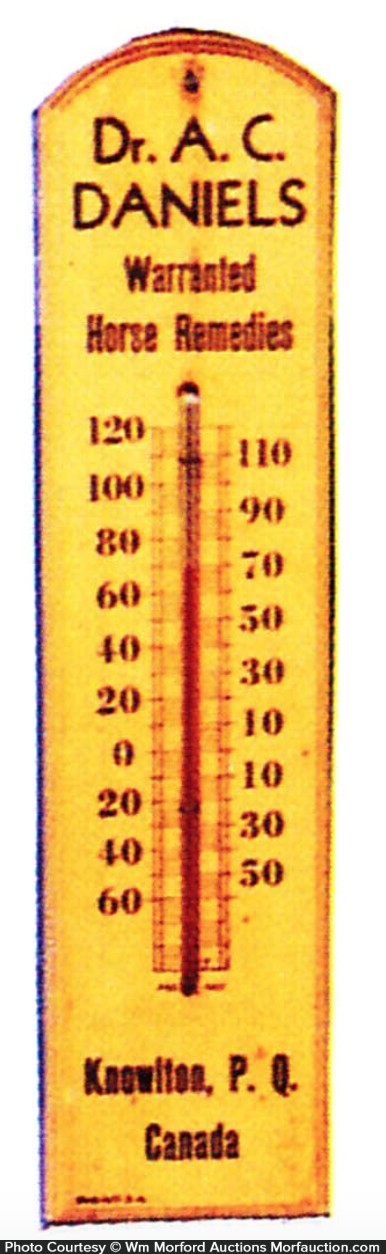 Dr. A. C. Daniels Horse Remedies Thermometer