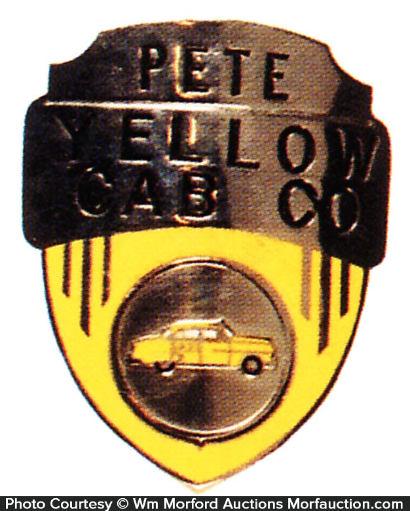 Yellow Cab Taxi Cab Badge