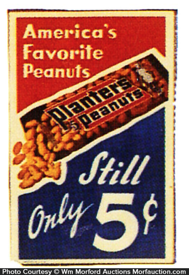 Vintage Signs For Sale >> Antique Advertising | Planters America's Favorite Peanuts Sign • Antique Advertising