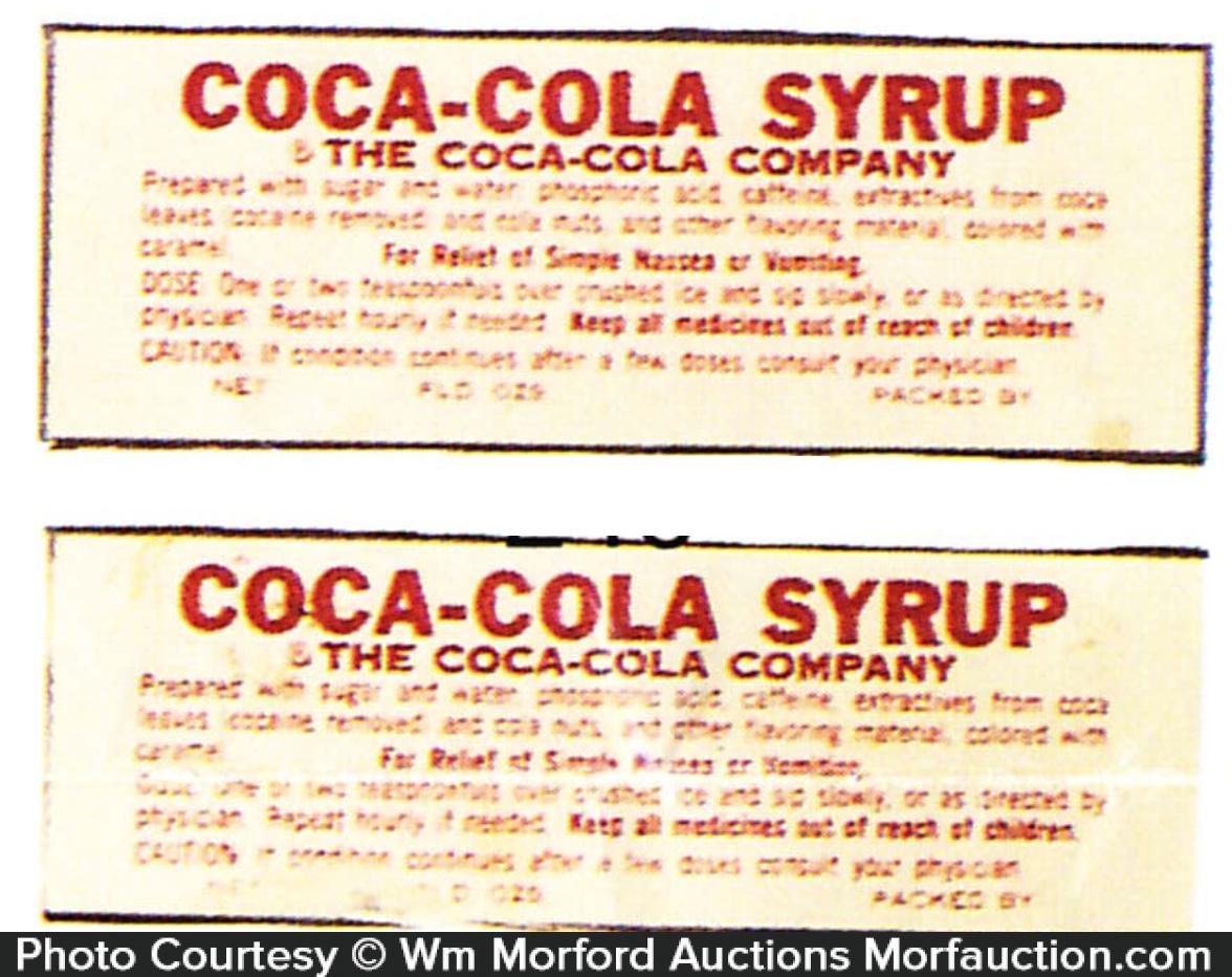 Coca-Cola Syrup Labels