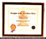 Ku Klux Klan Certificate
