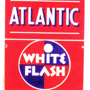 Atlantic White Flash Gasoline Sign