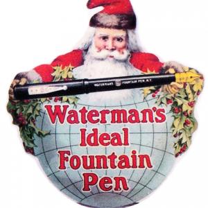 Waterman's Fountain Pens Santa Sign