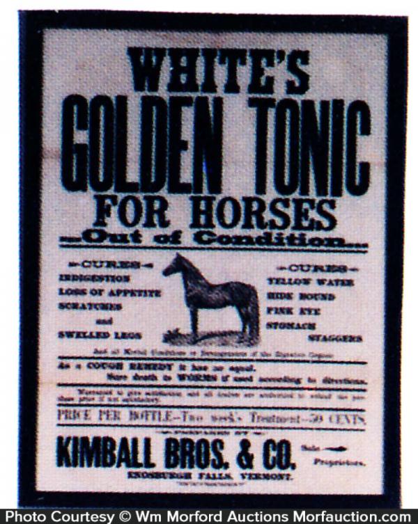 White's Golden Horse Tonic Sign