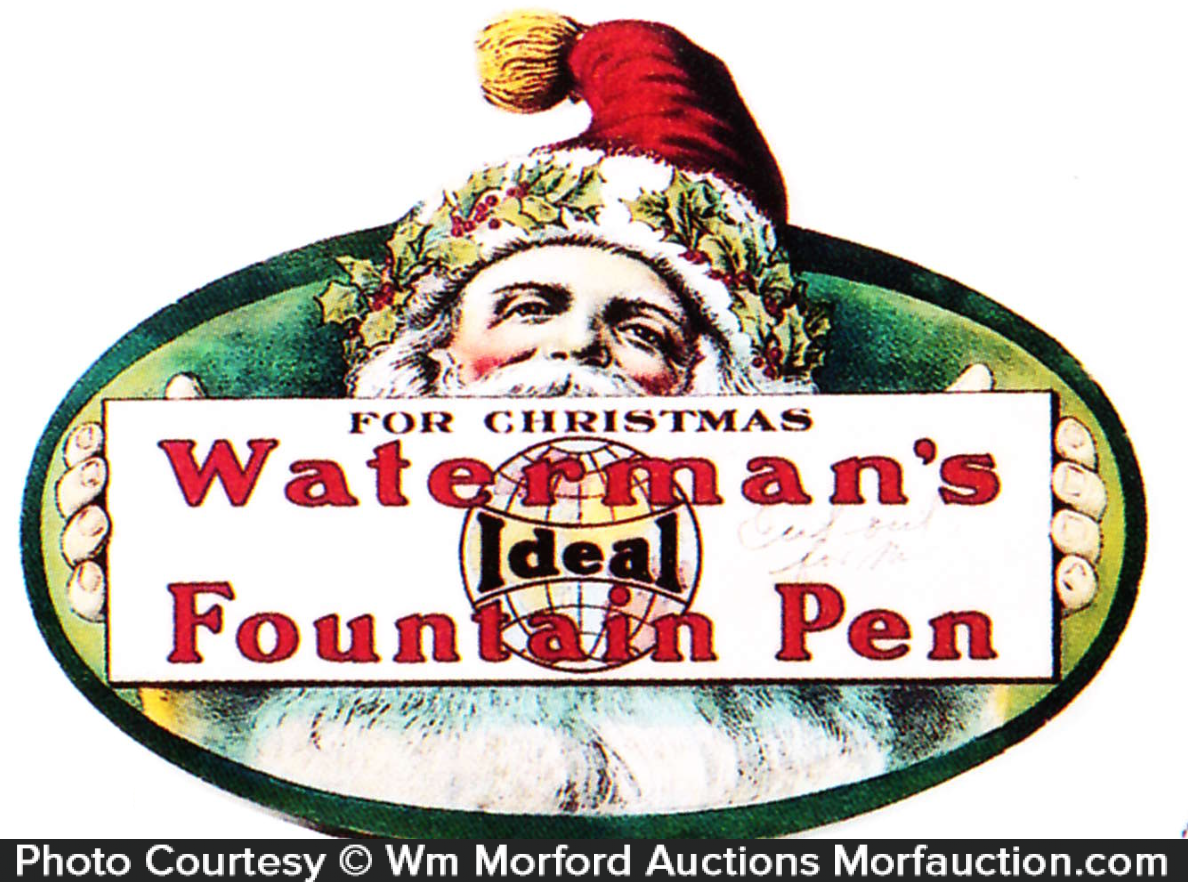 Waterman's Christmas Fountain Pen Sign