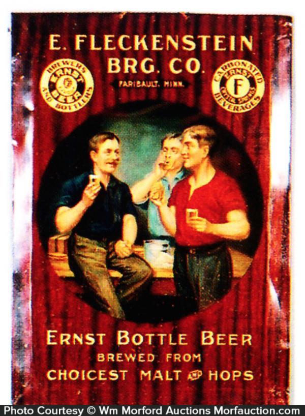 Antique Advertising Fleckenstein Brewery Ernst Beer Sign