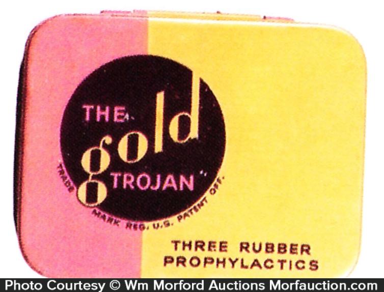 Gold Trojan Condom Tin