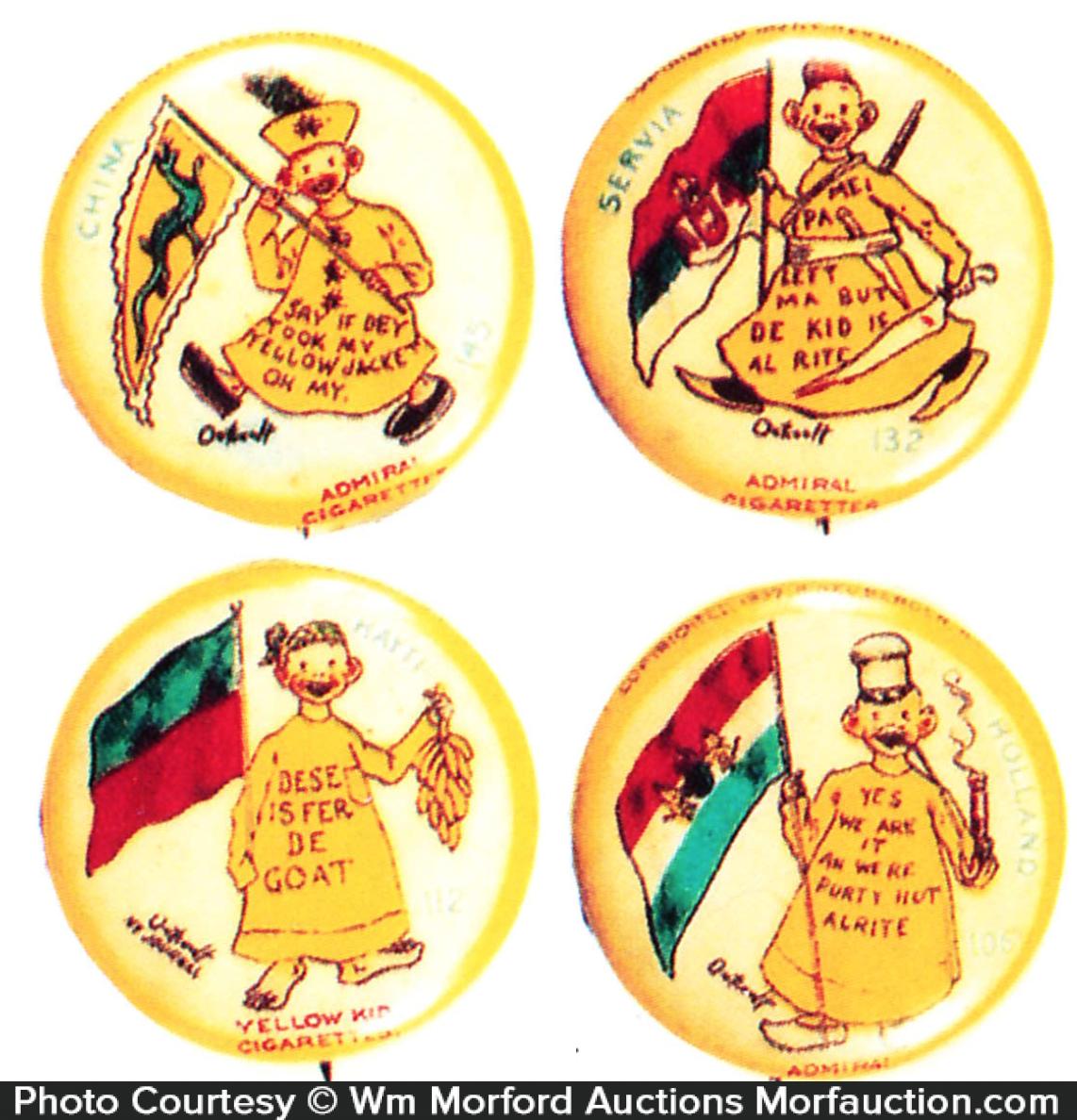 Yellow Kid Admiral Cigarettes Pins
