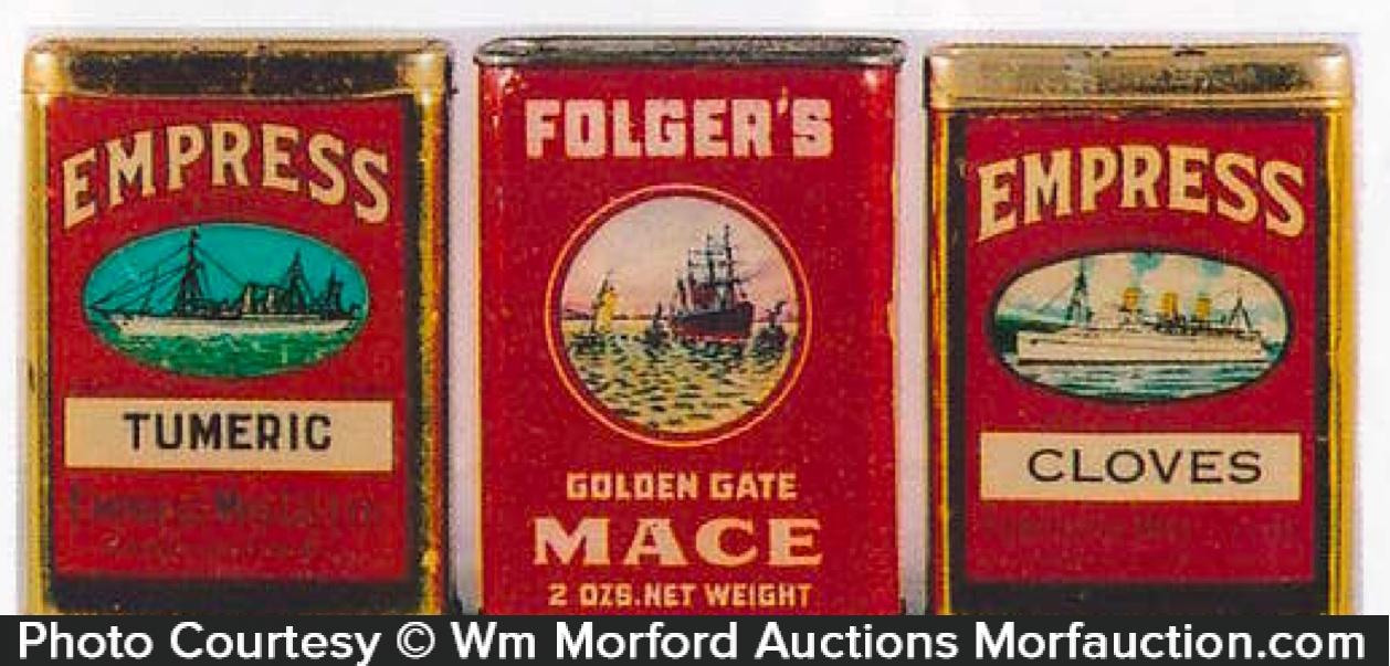 Vintage Ship Spice Tins