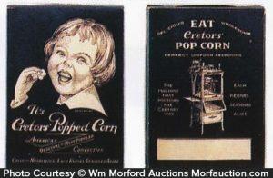 Cretors Pop Corn Boxes