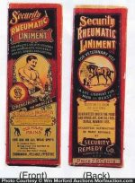 Security Rheumatic Liniment Bottle