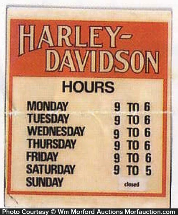 Harley Davidson Hours Sign