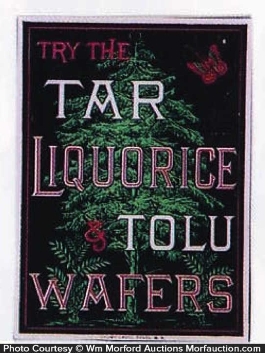Tar Liquorice Tolu Wafers Sign