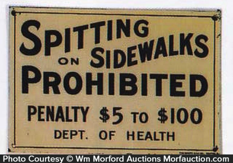 Spitting On Sidewalks Sign