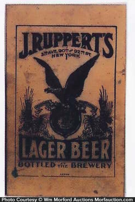 J. Ruppert's Lager Beer Sign