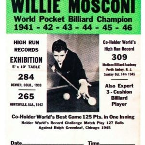 Willie Mosconi Billiard Poster