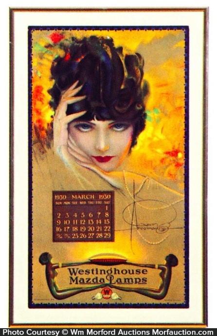 Westinghouse Mazda Lamps Calendar