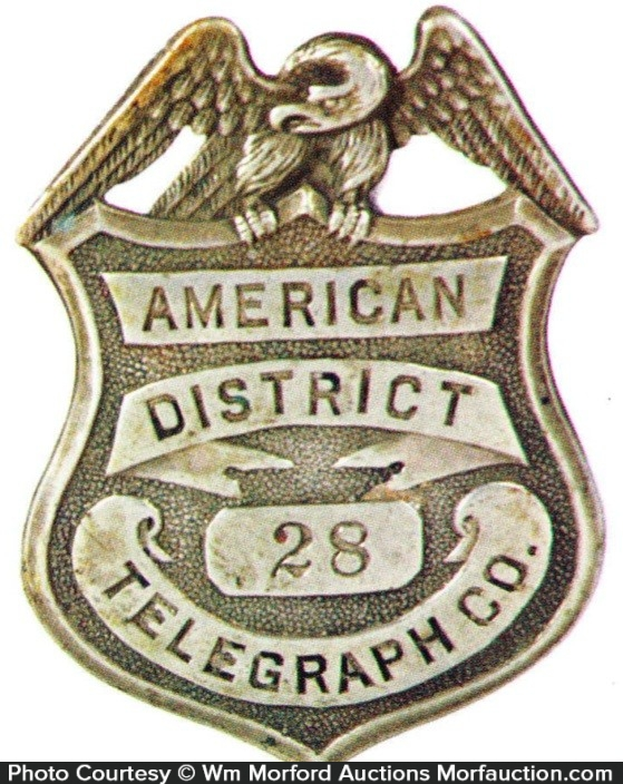 American District Telegraph Badge