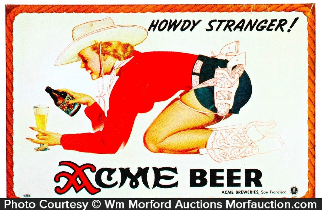 Acme Beer Cowgirl Sign
